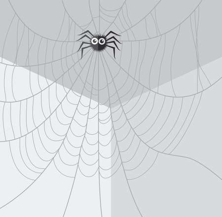 cobweb: vector cartoon of spider and web network in the corner of the room Illustration