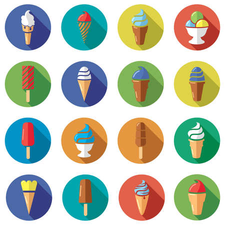 vector collection of colorful ice cream flat icons Vector