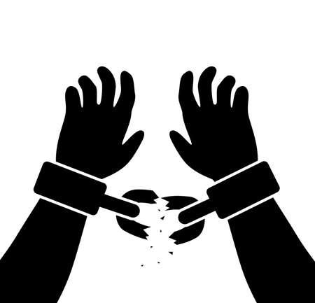 ligotage: symbole vecteur des mains lev�es de l'homme avec des cha�nes bris�es