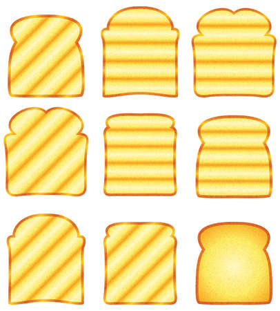 crusty: vector toasted bread slices