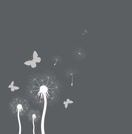fragile peace: vector illustration of dandelion seeds blown in the wind