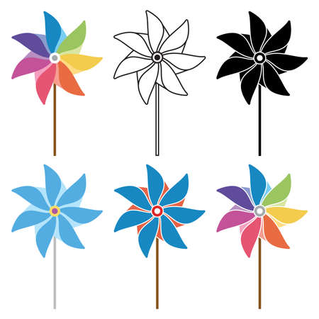 wind mills: vector colorful and black and white pinwheel set