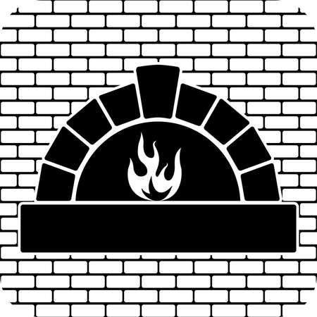 brick sign: vector black and white oven with burning fire Illustration