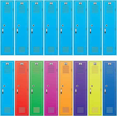 locker room: vector background of colorful school lockers