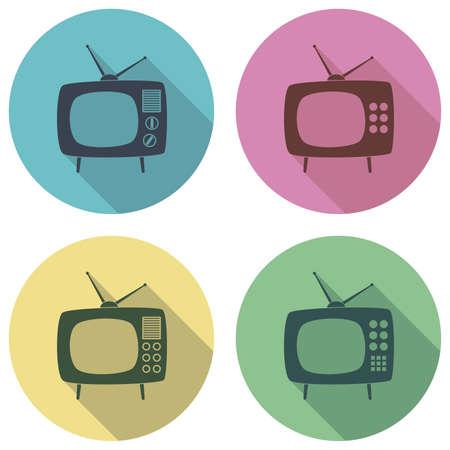 retro tv: vector retro tv set flat colorful icons Illustration