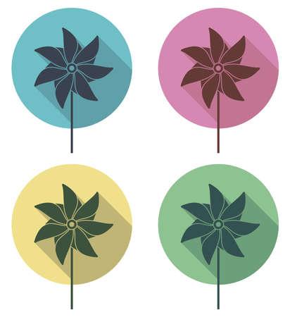 wind wheel: vector colorful pinwheel flat icons set