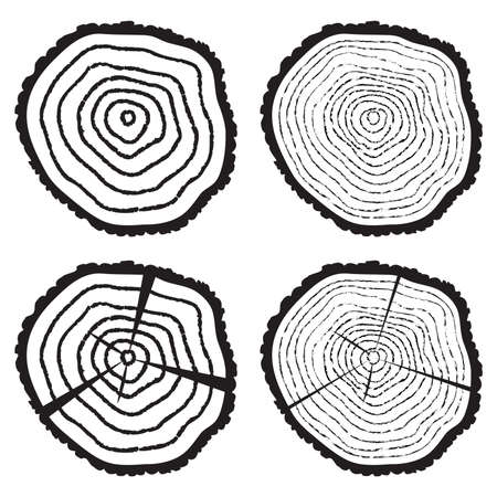 rings on a tree cut: vector collection of black and white wooden cut of a tree log with concentric rings and bark Illustration