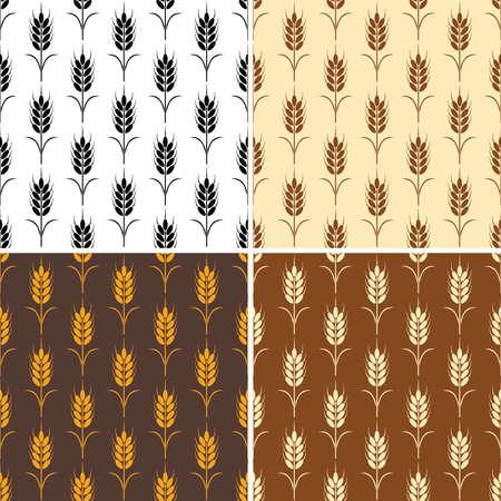 シームレスな繰り返し小麦パターンのベクトル コレクション