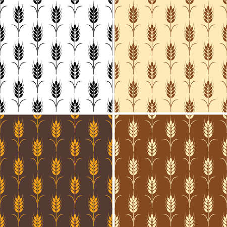 corn field: vector collection of seamless repeating wheat patterns