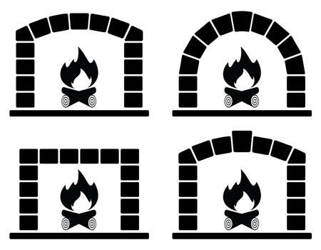 wood stove: vector black and white clipart set of ovens with burning fire