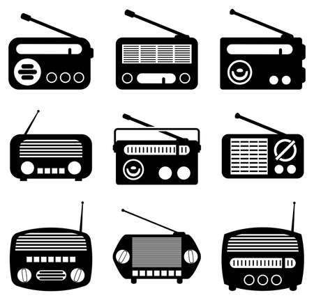 vintage radio: vector set of radio icons