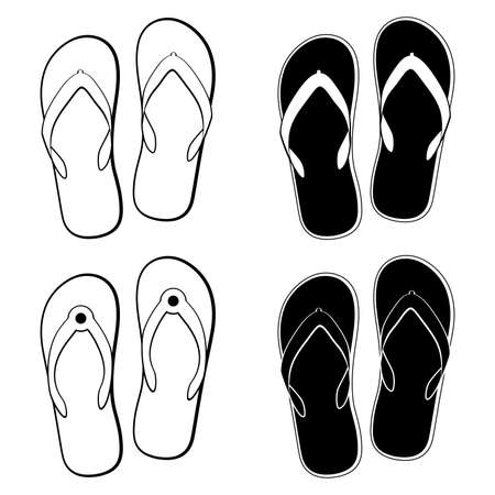 vector collection of black and white flip flops icons