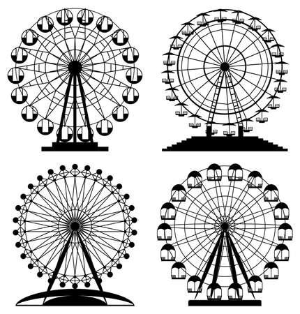 vector collection of park ferris wheels Stock Illustratie