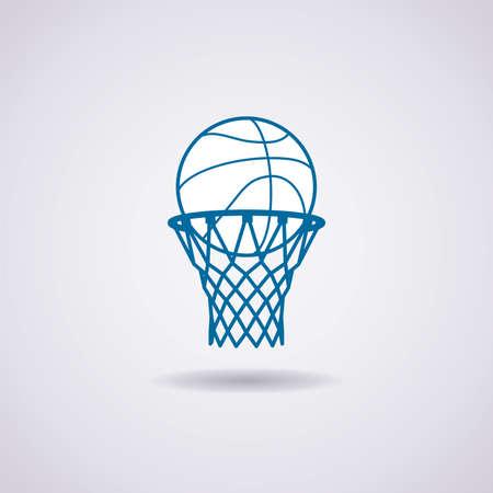 vector basketbal bal en de netto-icoon Stock Illustratie