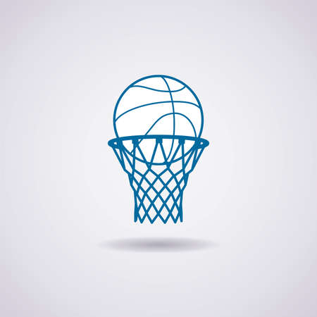 basketball dunk: vector basketball ball and net icon