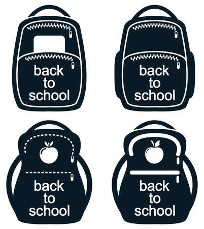 zaino scuola: vector black and white collection of school backpack icons