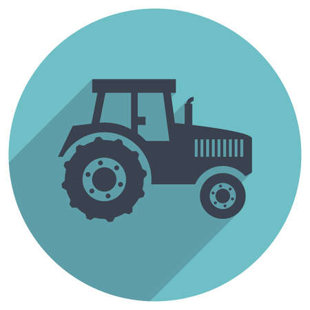 tractor sign: vector flat icon of a tractor Illustration