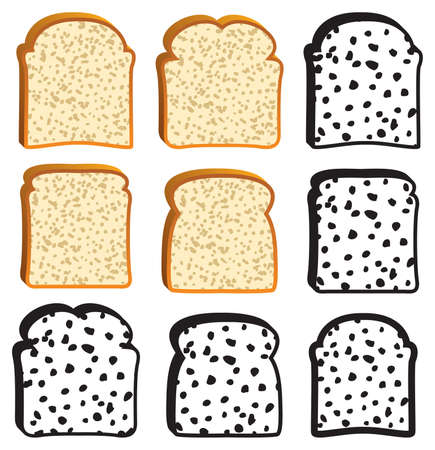 white bread: vector collection of white bread slices and icons Illustration