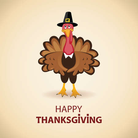 happy holiday: vector turkey card for thanksgiving day