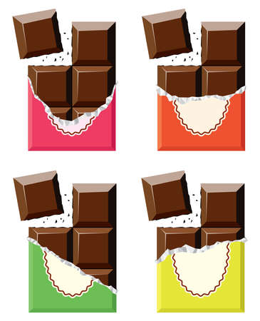 chocolate bars: vector collection of chocolate bars Illustration