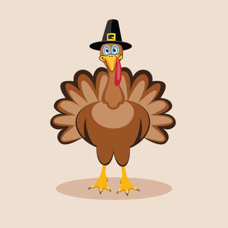 vector turkey card for thanksgiving day