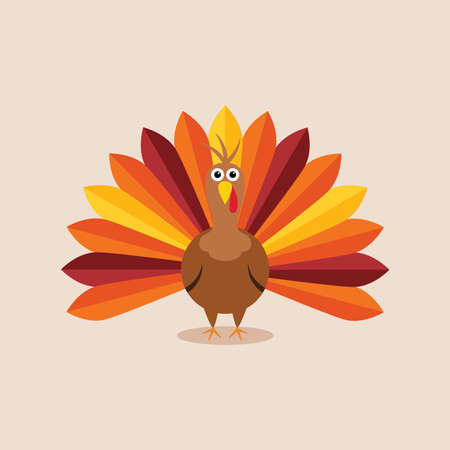 cute animals: vector turkey card for thanksgiving day