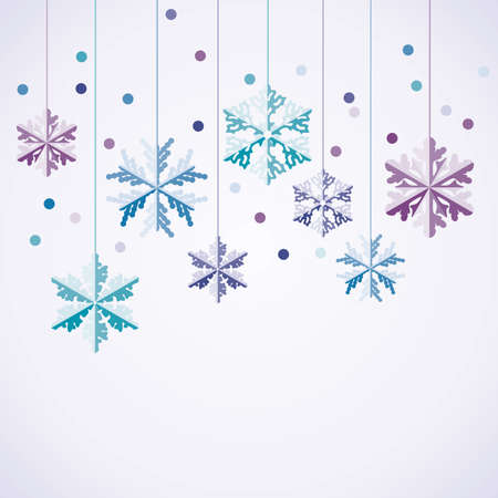 white wallpaper: vector origami hanging snowflakes