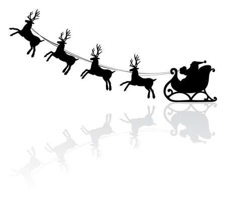 dessin noir et blanc: illustration vectorielle de vacances de Santa et de cerfs Illustration
