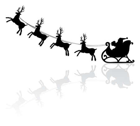 black and white line drawing: vector holiday illustration of santa and deers Illustration