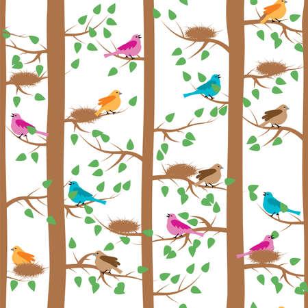 oiseau dessin: vecteur motif répétitif transparente avec les oiseaux et les arbres