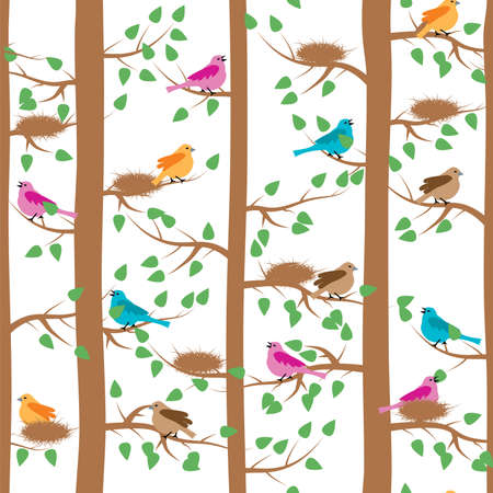 pajaro dibujo: vector seamless repeating pattern with birds and trees