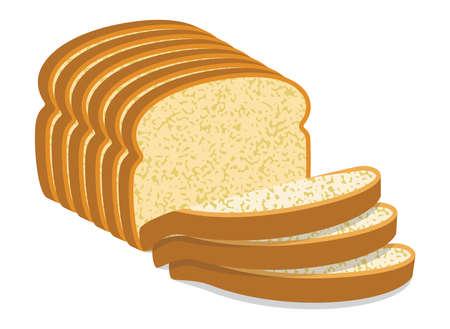 vector white bread slices Illustration