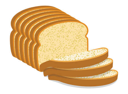 white bread: vector white bread slices Illustration