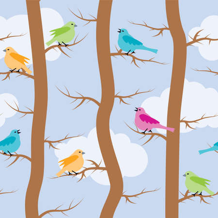 animal silhouettes: vector seamless repeating pattern with birds and trees