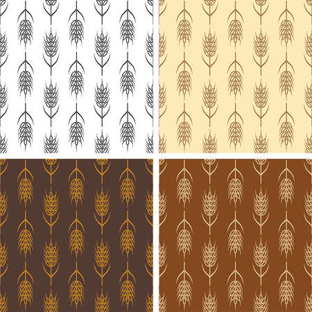 grain fields: vector collection of seamless repeating wheat patterns