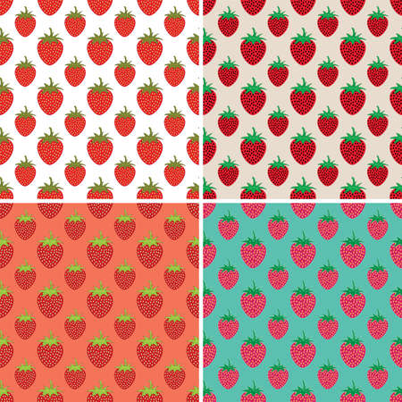 repeating: vector collection of seamless repeating strawberry patterns Illustration