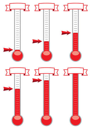 vector goal thermometers at different levels Фото со стока - 49779480