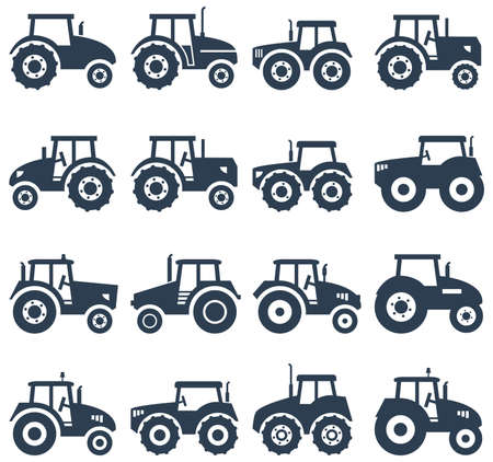 tractor in field: vector icons of a tractor Illustration