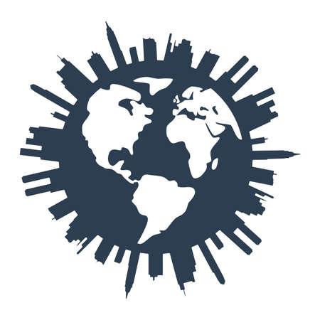 trend: vector global panorama urban design Illustration