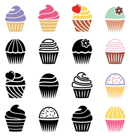 cupcakes: vector collection of black and white and colorful cupcake icons
