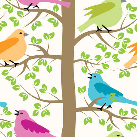 sparrow bird: vector seamless repeating pattern with birds and trees