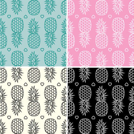 graphic pattern: vector collection of seamless repeating pineapple patterns Illustration