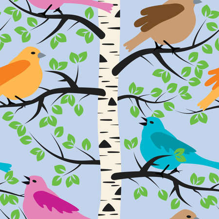 tree with birds: vector seamless repeating pattern with birds and birch tree