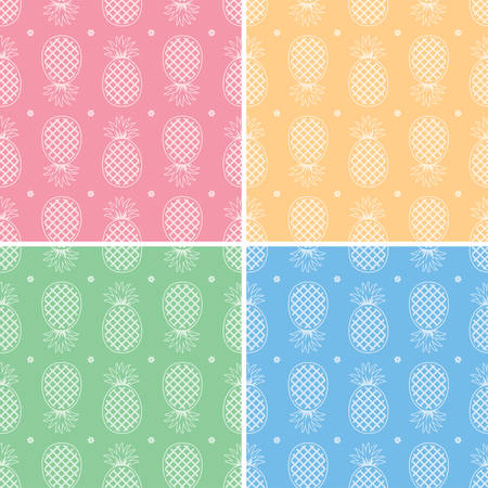 summer fun: vector collection of seamless repeating pineapple patterns Illustration