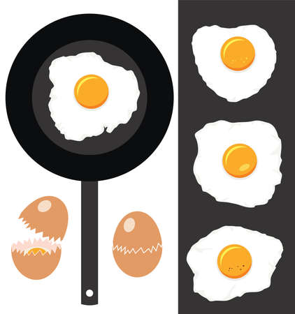 fried: vector collection of cracked eggs, fried eggs and frying pan Illustration