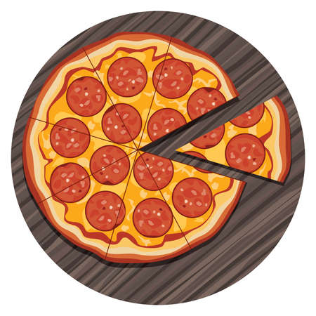 vector illustration of italian pizza with a slice on wooden board