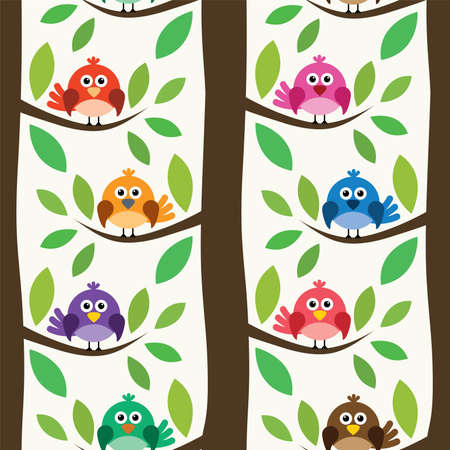 árboles con pajaros: vector seamless repeating pattern with birds and trees