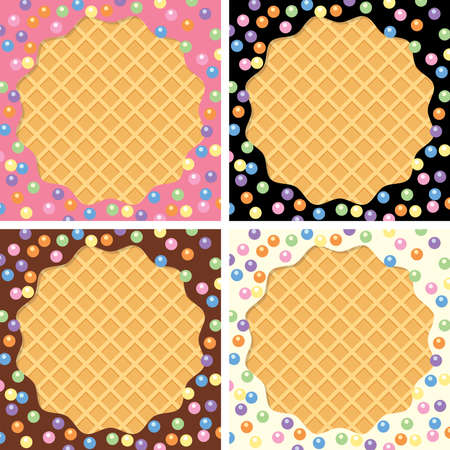 wafer: vector background collection of wafer and cream with sprinkles