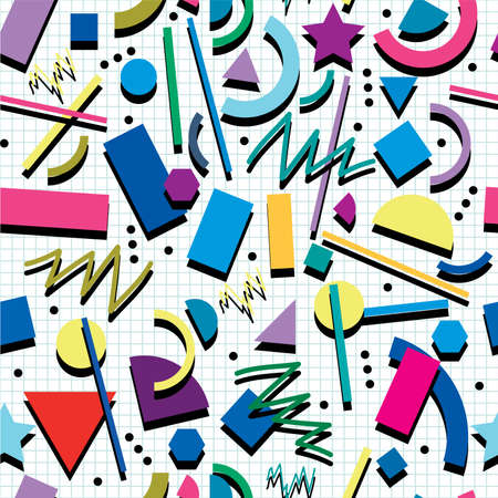 vector seamless 80s or 90s background pattern Illustration