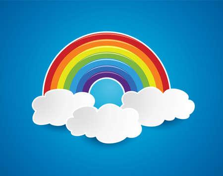 arcoiris caricatura: símbolo del vector del arco iris y nubes en el cielo Vectores